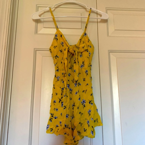 Romper - Yellow with blue flowers